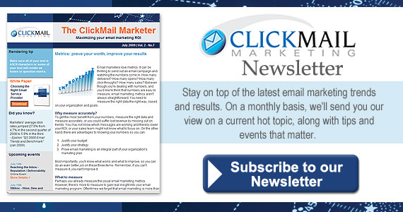 ClickMail Marketing Newsletter keeps you up to date on the latest email marketing trends and topics