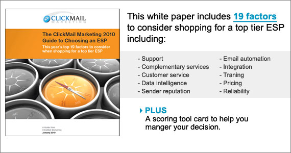 ClickMail Marketing: 19 Factors to consider when shopping for an ESP (email service provider)