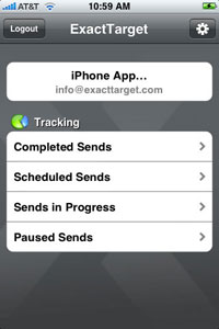 Screenshot of ExactTarget iPhone app