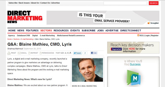 Direct Marketing News: Q&amp;A: Blaine Mathieu, CMO, Lyris