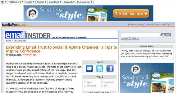 EmailInsider: Extending Email Trust to Social &#038; Mobile Channels: 3 Tips to Inspire Confidence