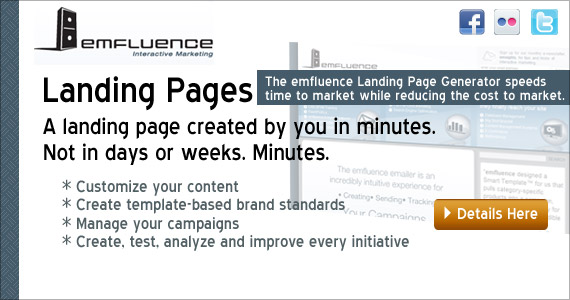 emfluence Landing Pages - A landing page created by you in minutes. not in days or weeks. Minutes