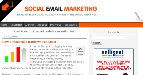 Social Email Marketing : How I tripled blog traffic with one post