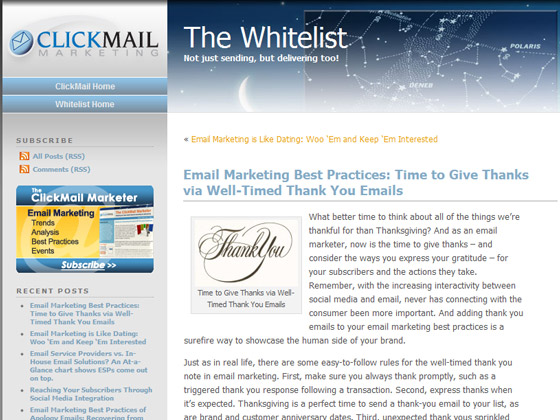 ClickMail - Email Marketing Best Practices: Time to Give Thanks via Well-Timed Thank You Emails