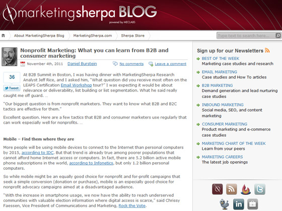 MarketingSherpa - Nonprofit Marketing: What you can learn from B2B and consumer marketing
