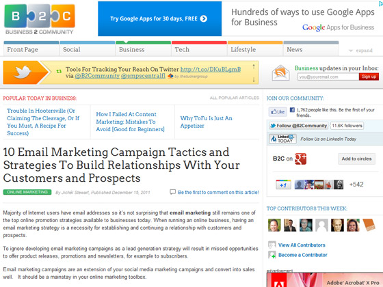 Business 2 Community - 10 Email Marketing Campaign Tactics and Strategies To Build Relationships With Your Customers and Prospects
