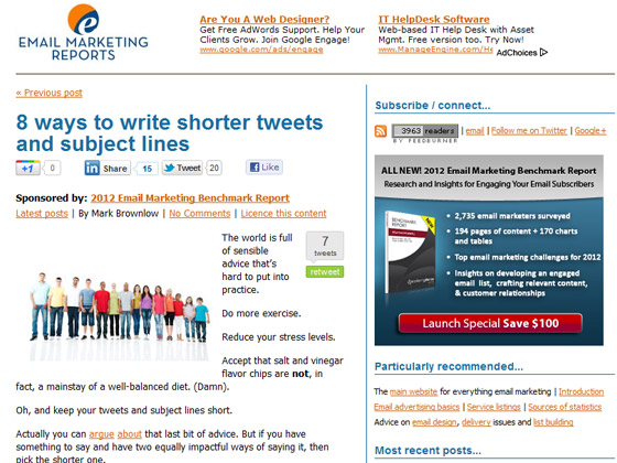 Email Marketing Reports &#8211; 8 ways to write shorter tweets and subject lines