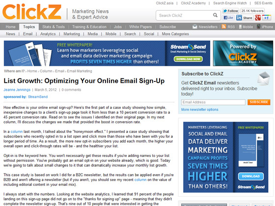 Clickz - List Growth: Optimizing Your Online Email Sign-Up