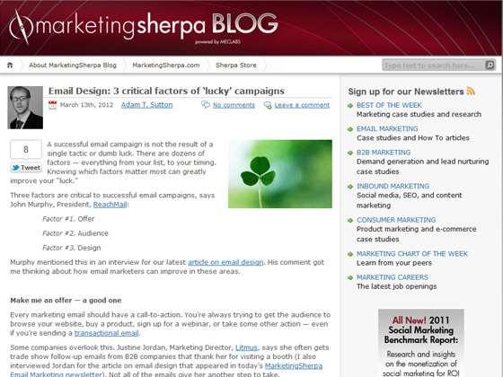 MarketingSherpa - Email Design: 3 critical factors of lucky campaigns