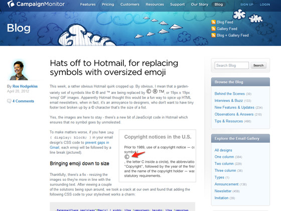 CampaignMonitor - Hats off to hotmail for replacing symbols with oversized emoji