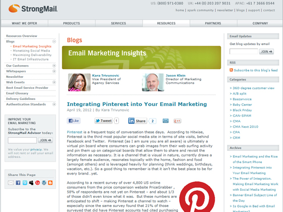 StrongMail - Integrating Pinterest into Your Email Marketing