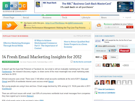 Business 2 Community - 14 Fresh Email Marketing Insights for 2012