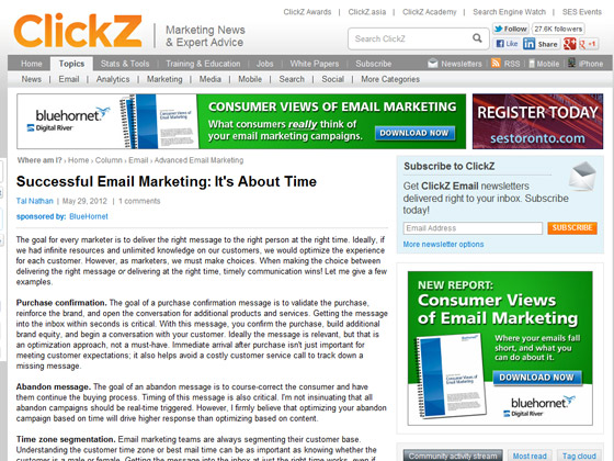ClickZ - Successful Email Marketing: It's About Time