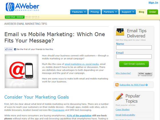 AWeber - Email vs Mobile Marketing: Which One Fits Your Message?