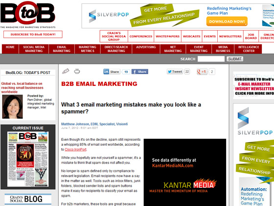 B to B Online - What 3 email marketing mistakes make you look like a spammer?