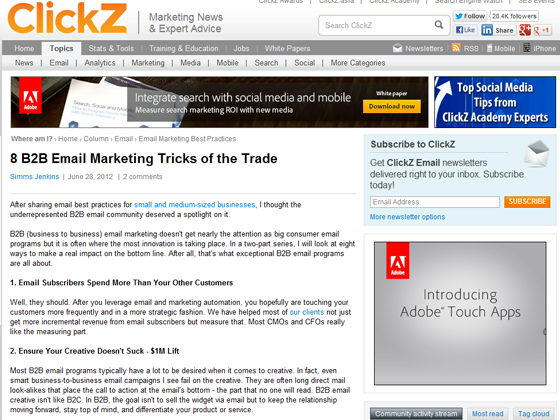 ClickZ - 8 B2B Email Marketing Tricks of the Trade