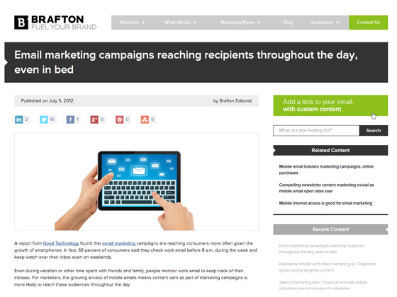 Brafton - Email marketing campaigns reaching recipients throughout the day, even in bed