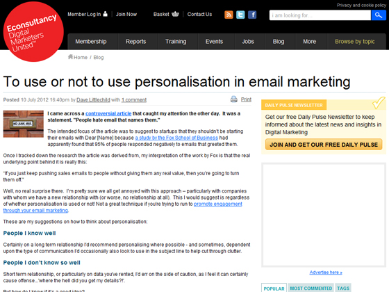 Econsultancy - To use or not to use personalisation in email marketing