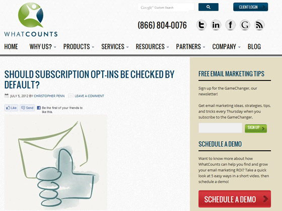 WhatCounts - Should subscription opt-ins be checked by default?