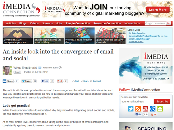 iMedia Connection - An inside look into the convergence of email and social
