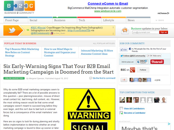Business 2 Community - Six Early-Warning Signs That Your B2B Email Marketing Campaign is Doomed from the Start