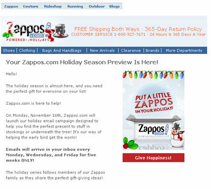 The Zappos heads up holiday eMail