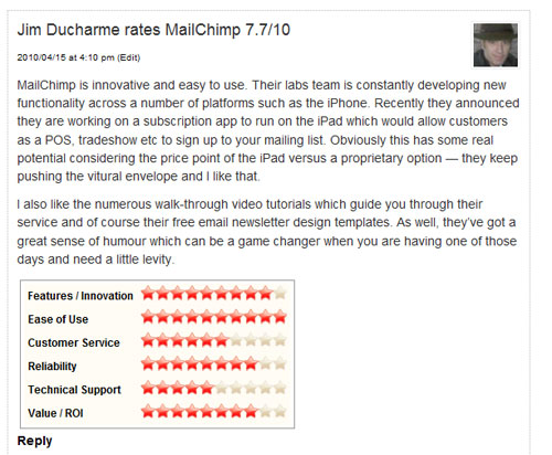 An example of how your comment will appear on a company's listing page.