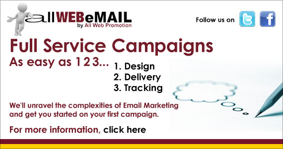 allWEBeMAIL offers Full service email marketing campaigns from design to delivery to tracking!