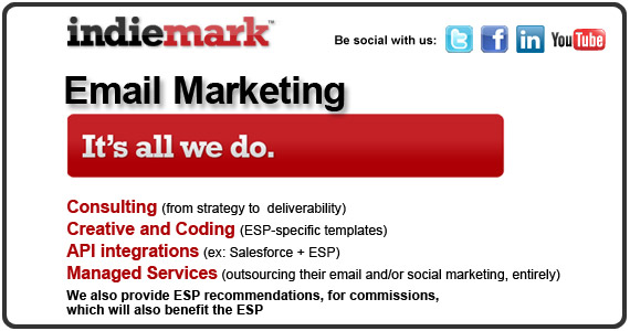 Indiemark | The Email Marketing Agency offers consulting, creative and coding, API integrations and managed services