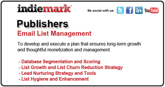 Indiemark   The Email Marketing Agency offers database segmentation and scoring, list growth and list churn reduction strategy, lead nurturing and tools, list hygiene and enhancement