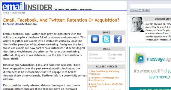 Email, Facebook, And Twitter: Retention Or Acquisition?