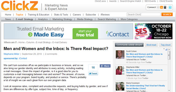 Men and Women and the Inbox: Is There Real Impact?