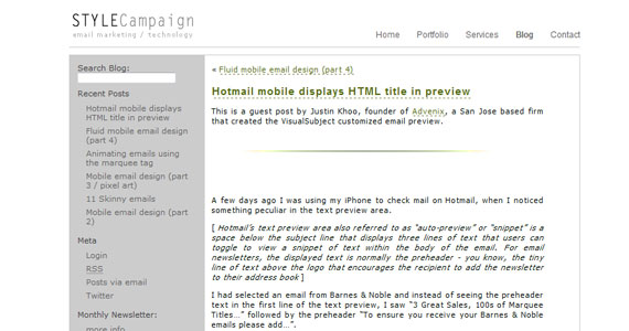 Hotmail mobile displays HTML title in preview