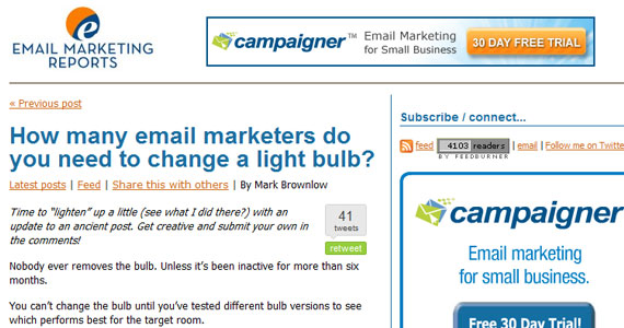 Email Marketing : How many email marketers do you need to change a light bulb?