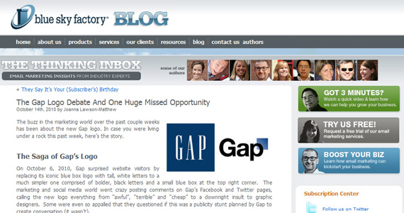 Email Marketing : The Gap Logo Debate And One Huge Missed Opportunity