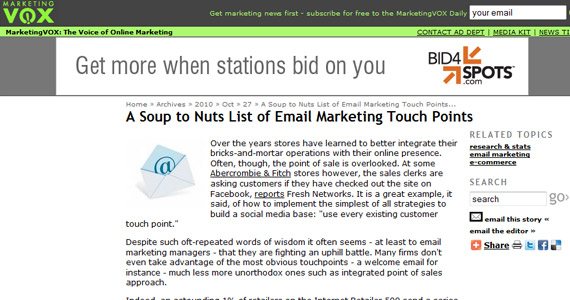 MarketingVox A Soup to Nuts List of Email Marketing Touch Points