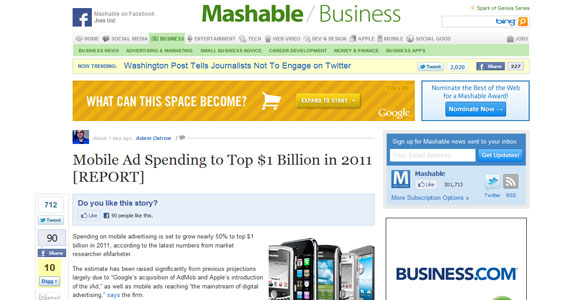 Mobile Marketing : Mobile Ad Spending to Top $1 Billion in 2011