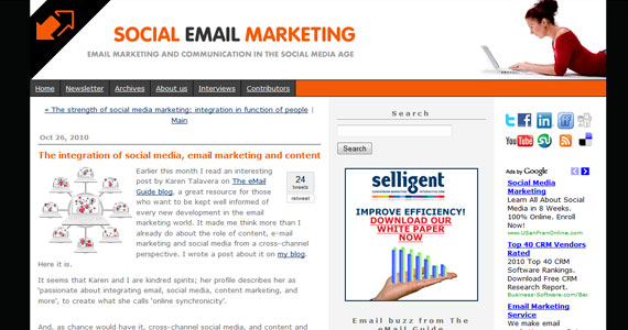 Email Marketing : The integration of social media, email marketing and content