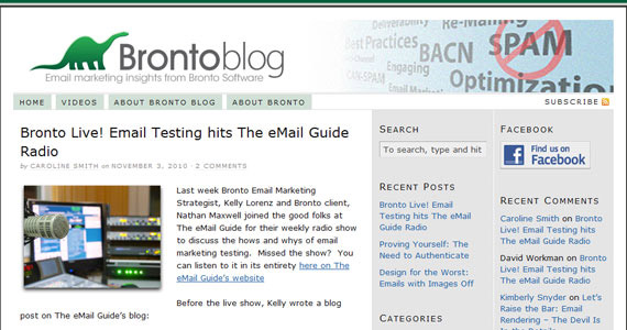 Email Marketing : Bronto Live! Email Testing hits The eMail Guide Radio