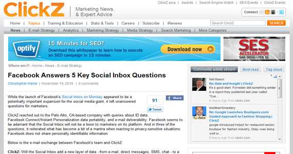 Social Marketing : Facebook Answers 5 Key Social Inbox Questions