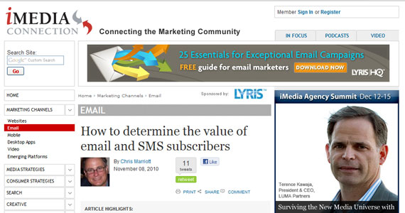 Email Marketing : How to determine the value of email and SMS subscribers