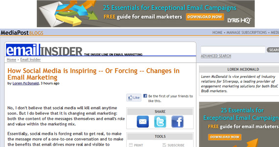 Email Marketing : How Social Media is Inspiring -- Or Forcing -- Changes in Email Marketing