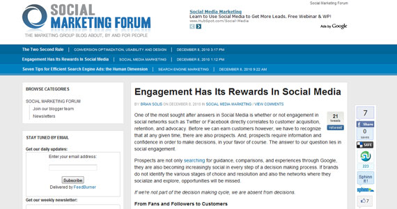Social Marketing : Engagement Has Its Rewards In Social Media