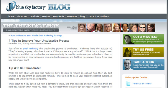 Blue Sky Factory- 7 Tips to Improve Your Unsubscribe Process