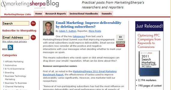 Email Marketing: Improve deliverability by deleting subscribers?