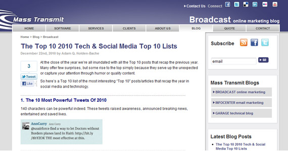 Mass Transmit - The Top 10 2010 Tech & Social Media Top 10 Lists
