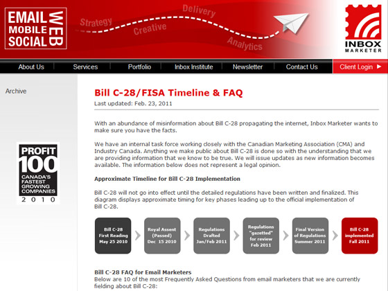 Inbox Marketer - Bill C-28/FISA Timeline & FAQ