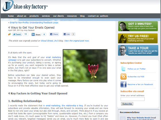 Blue Sky Factory - 4 Ways to Get Your Emails Opened