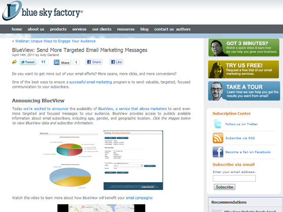 Blue Sky Factory - BlueView: Send More Targeted Email Marketing Messages