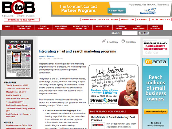 Integrating email and search marketing programs
